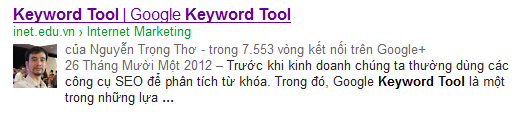 Rich snippets, Nguyen Trong Tho